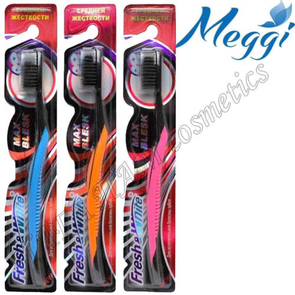 Зубная щетка средней жесткости Meggi Fresh&White Max Blesk