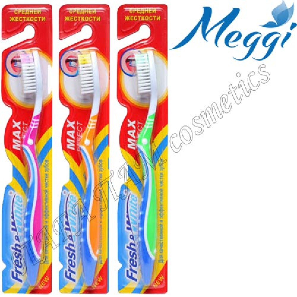 "Зубная щетка средней жесткости+очистка языка Fresh&White ""Max Effect"""