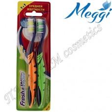 Зубная щетка средней жесткости Meggi Fresh&White Zigzag Comfort 1+1