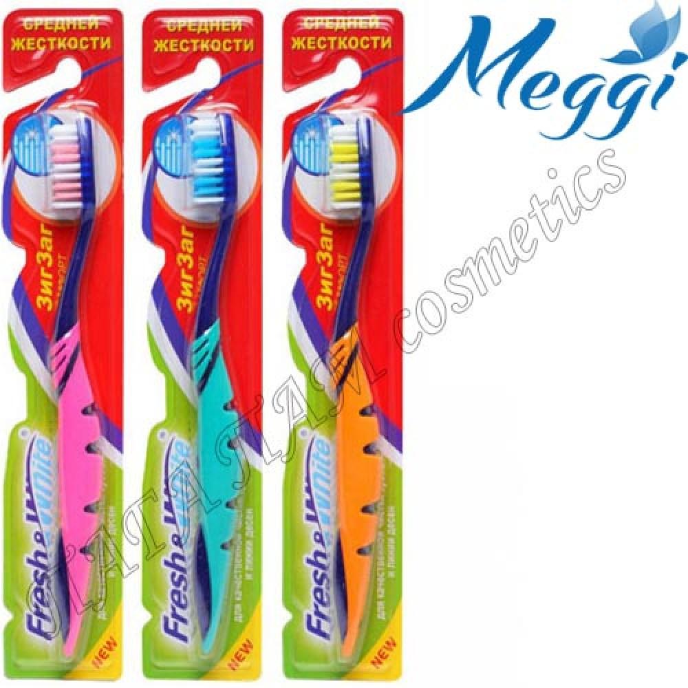 Зубная щетка средней жесткости Meggi Fresh&White Zigzag Comfort